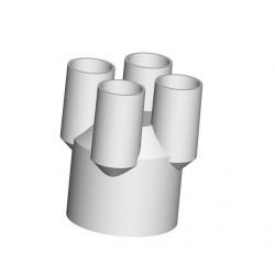 Schlauchverbinder, vierfach, groß